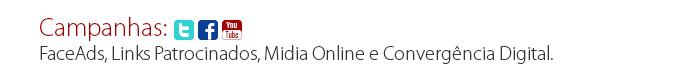 Campanhas: FaceAds, Links Patrocinados, Midia Online e Convergência Digital.